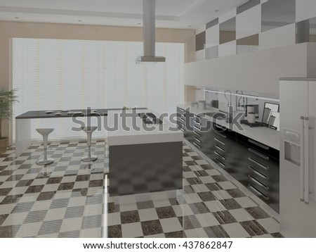 Bright modern kitchen with a stylish background, 3d rendering. - stock photo