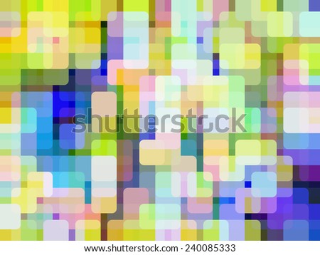 Bright multicolored abstract mosaic of rounded squares, overlapping for illusion of three dimensions, like so many out-of-focus glowing lights in a city district - stock photo
