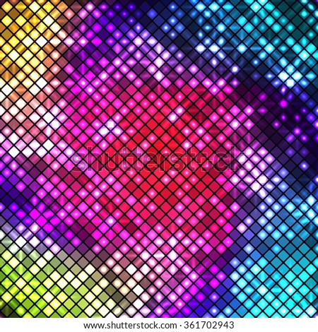 Bright multicolored disco mosaic of shiny squares with rounded corners - stock photo