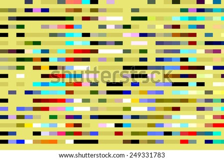 Bright multicolored geometric mosaic abstract of segmented parallel stripes on gold background - stock photo