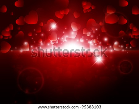 bright night Abstract Valentine background with stars and lights - stock photo