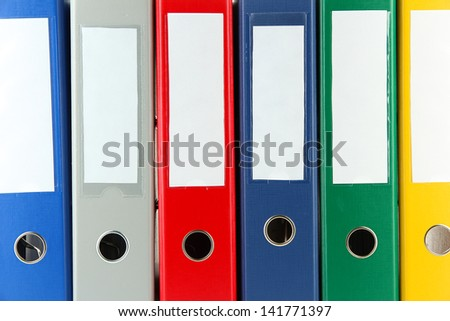 Bright office folders, close up - stock photo