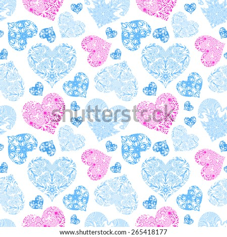 Bright openwork seamless pattern of blue and pink hearts from floral lace ornament on the white background - stock photo
