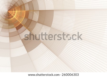 Bright orange / copper abstract checkered ray / disc design on white background  - stock photo