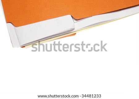 Bright orange folder full of paper isolated on white, great for use as a border. - stock photo