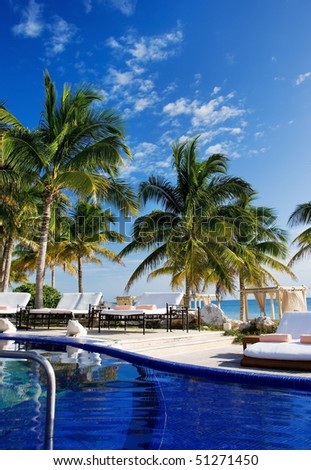 bright picture of beautiful caribbean tropical resort - stock photo