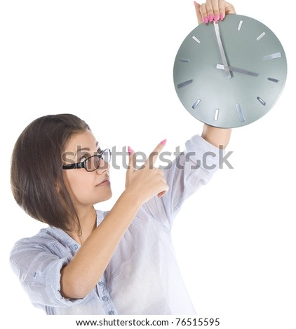 Bright picture of businesswoman with big clock - stock photo