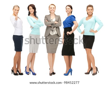 bright picture of happy and smiling business team - stock photo