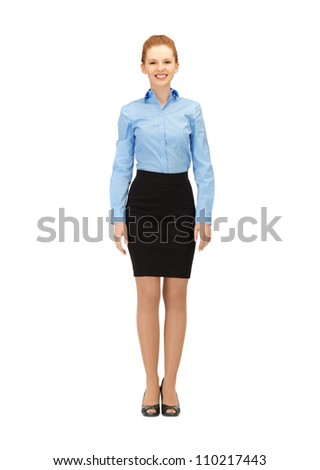 bright picture of happy and smiling stewardess - stock photo