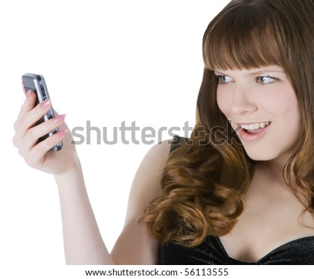 Bright picture of happy brunette with cell phone - stock photo