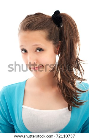 bright picture of happy teenage girl over white - stock photo