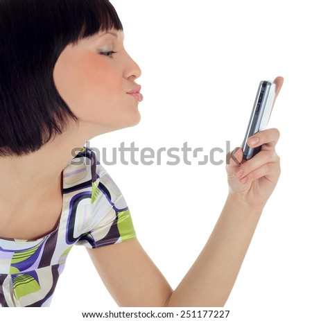 Bright picture of happy woman with cell phone - stock photo