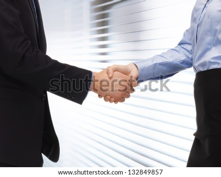 bright picture of man and woman shaking their hands. - stock photo