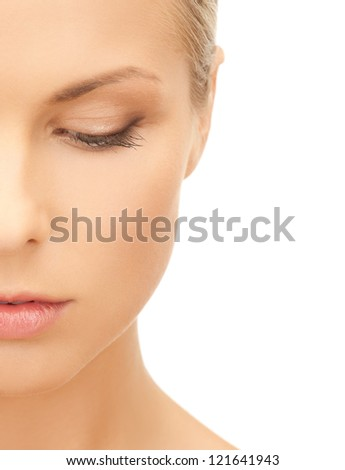 bright picture of pensive beautiful woman - stock photo