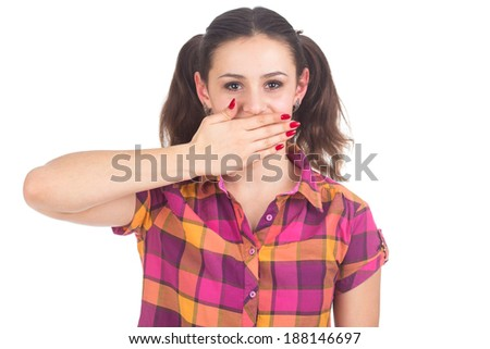 Bright picture of pretty woman with hand over mouth isolated on white background - stock photo