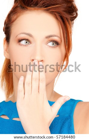 bright picture of teenage girl with hand over mouth - stock photo