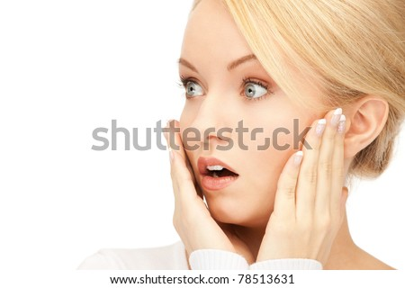 bright picture of woman with expression of surprise - stock photo