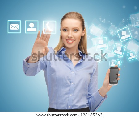 bright picture of woman with smartphone - stock photo