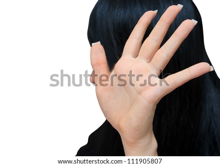 bright picture of young woman making stop gesture - stock photo