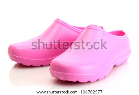 bright pink galoshes isolated on white - stock photo