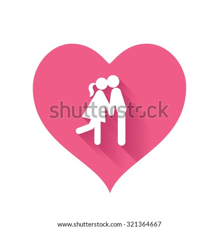 Bright pink heart shape icons of love relationships for Valentines Day design - stock photo