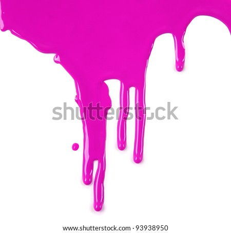 Bright Pink Paint Drips on White background - stock photo