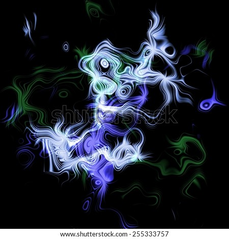 Bright plaited vivid colorful streams in dark space, huge misty energy release in black background - stock photo