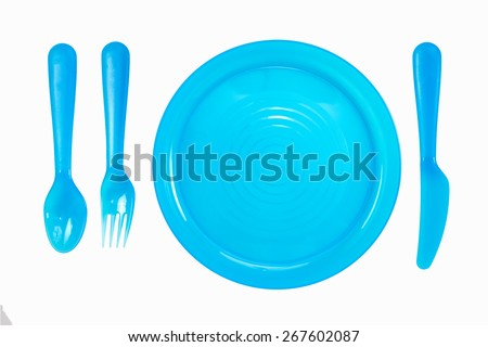 bright plastic disposable tableware isolated on white background - stock photo