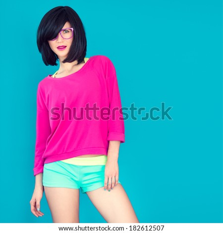 Bright portrait of a stylish girl - stock photo