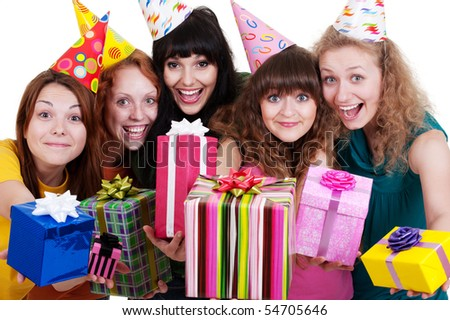 bright portrait of happy girls with gift boxes over white background - stock photo