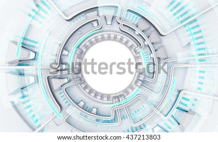 bright powerful technology template with white circle text space, background 3D illustration with empty middle - stock photo