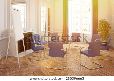 Bright presentation room with stairs in circle in an old classic house (3D Rendering) - stock photo
