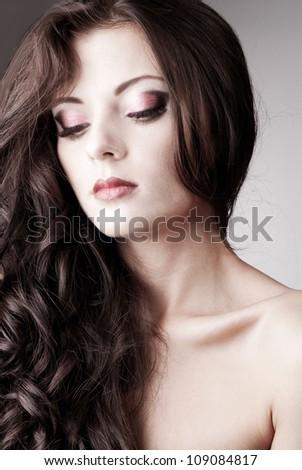 Bright purple eye evening make-up, beautiful woman portrait, Eyeshadows and lip stick - stock photo