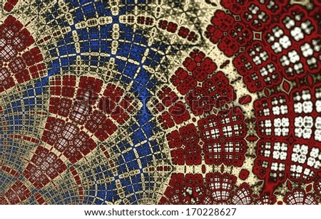 Bright red, blue and white / yellow abstract curved mosaic on white background - stock photo