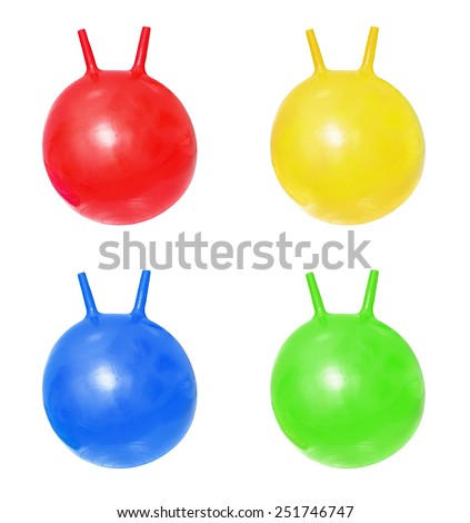 Bright red, blue, green, yellow fitballs, ball-kangaroo on white background - stock photo