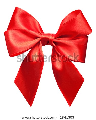 Bright red bow isolated over white background - stock photo