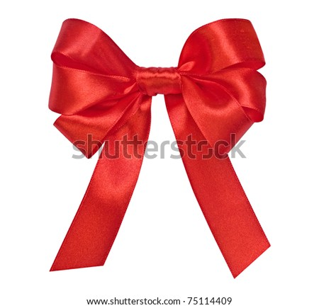 Bright red bow on the white - stock photo