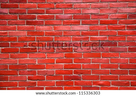 Bright red brick wall background taken in Knoxville, Tennessee - stock photo