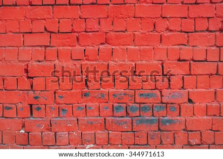 Bright red brick wall texture background - stock photo