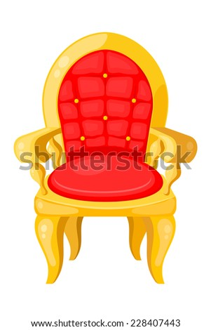 Bright red chair with highlights and shadows isolated on white background. Raster copy. - stock photo