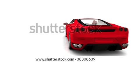 Bright Red convertible Sportscar / sports car, isolated on white rear View - stock photo