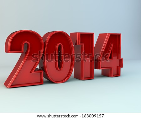 bright red 3d illustration of text 2014  - stock photo
