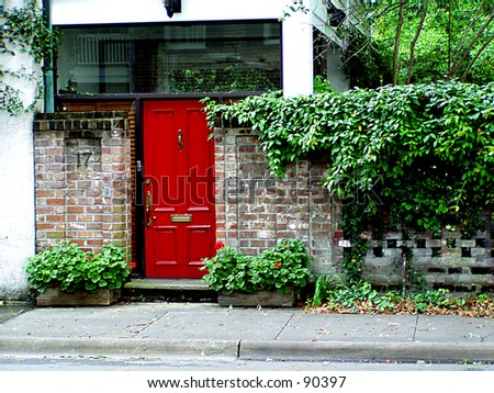 Bright Red Door - stock photo