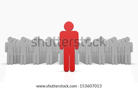 Bright red figure against the gray crowd. - stock photo