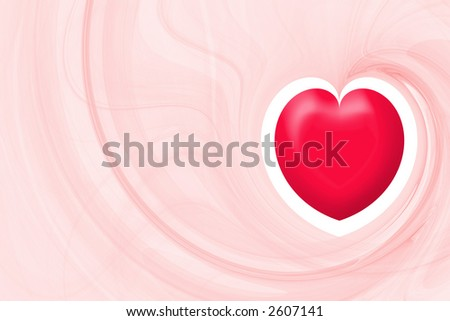 Bright red heart over light red abstract background with copyspace horizontal layout large - stock photo