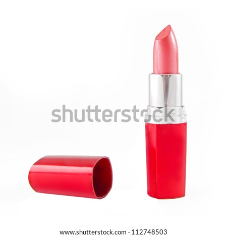bright red lipstick isolated on white - stock photo