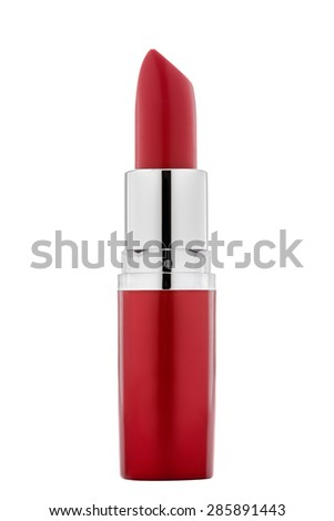 Bright red lipstick isolated on white background. - stock photo