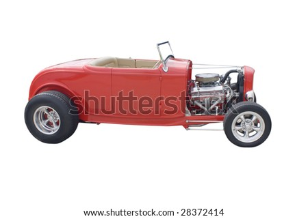 bright red open wheel hotrod on white - stock photo