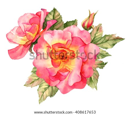 Bright red rose watercolor illustration - stock photo