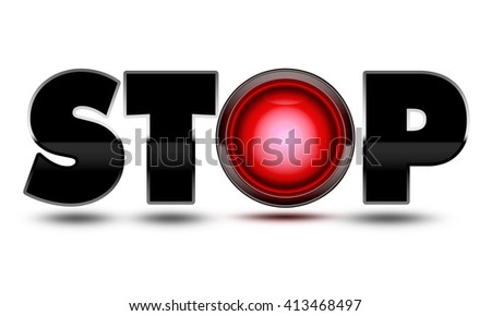 Bright red traffic light used to make the text word Stop! Concept for warning, danger, stopping, halting and ending your journey! - stock photo